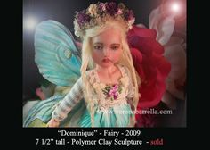OOAK Victorian Fairy  One-of-a-kind polymer clay sculpture  by Verona Barrella
