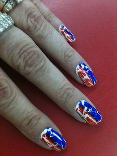 4th of july crackle nail polish!!