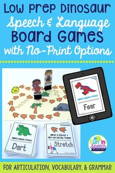 These dinosaur speech therapy games target articulation, vocabulary, and grammar. Keep your students on the edge of their seats as they work toward their goals with this fun game. Switch up your therapy ideas with these fun speech game activities that you