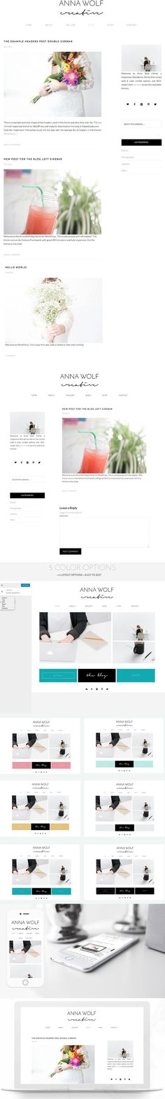 6 Colors Wordpress BLOG Anna Wolf. WordPress Blog Themes. $45.00