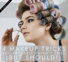 Makeup Tricks You Probably Haven't Tried (But Should) 4 makeup tricks you don't know but need to! // so makeup tricks you don't know but need to! All Things Beauty, Beauty Make Up, Hair Beauty, Makeup Brushes, Eye Makeup, Hair Makeup, Makeup Contouring, Makeup Tricks, Makeup Tutorials