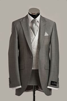 Light grey suits for the groom and groomsmen Grey Suit Wedding, Tuxedo Wedding, Wedding Attire, Wedding Dresses, Wedding Tuxedos, Ivory Wedding, Mens Tux, Mens Suits, Groom Attire