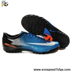 New Nike Mercurial Vapor IX TF Blue Black White Soccer Boots On Sale