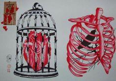 Heart in birdcage, bird in ridcage