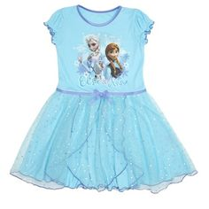 Frozen Nightdress with layered skirt, frilled sleeves and image of Disney characters, Anna and Elsa.