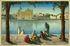 Golden Temple, Amritsar by Charles W. Bartlett, 1919 (published by Watanabe Shozaburo)