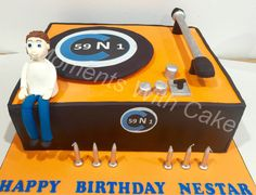 Record player birthday cake. Everything is edible.