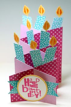 Card: Cascading Birthday Candles- Created this cascading card after watching a few how-to videos on youtube.  They fold up flat and slip right in an envelope.