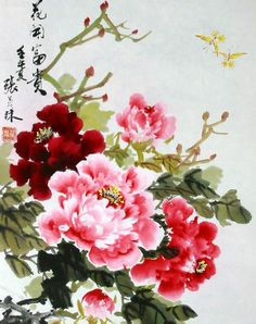 Peonies, asian style. Peony Drawing, Peony Painting, Silk Painting, Watercolor Flowers, Watercolor Paintings, Japanese Painting, Chinese Painting, Japanese Art, Chinese Prints