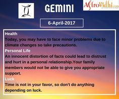 Check Your Today's Gemini Zodiac Sign (6-April-2017). Read your detailed horoscope at astrovidhi.com.