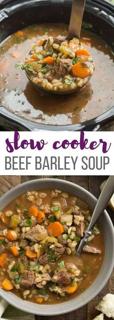 This Slow Cooker Beef Barley Soup is an easy crockpot meal perfect for fall or winter! Loaded with vegetables and tender chunks of beef. Includes step by step recipe video. | slow cooker recipe | crockpot recipe | beef stew | healthy dinner recipe | low calorie | high protein | #slowcooker #crockpot #slowcookerrecipes