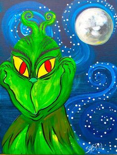 How to paint the Grinch step by step on Canvas Free Video tutorial by the Art sherpa Learn how to paint with acrylics for free