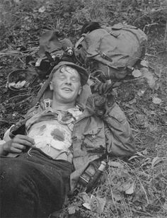 A wounded Finnish soldier, smiling for the camera. August 1941.