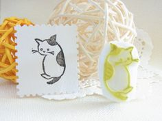 Kitty hand carved rubber stamp!
