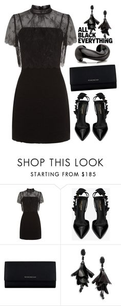 """All black"" by ildiko-olsa ❤ liked on Polyvore featuring Sandro, Yves Saint Laurent, Givenchy, Oscar de la Renta and allblack"