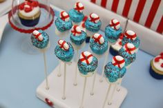 """Photo 5 of Nautical / Baby Shower/Sip & See """"Nautical Crab Baby Shower"""" Tea Party Baby Shower, Baby Shower Cakes, Baby Boy Shower, Baby Showers, Bridal Shower, Nautical Cake Pops, Nautical Party, Nautical Wedding, Cute Marshmallows"""