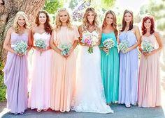 rainbow bridesmaids