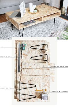 DIY decor: Create a design coffee table in OSB wood - Diy Möbel Diy Coffee Table, Coffee Table Design, Decorating Coffee Tables, Diy Table, Fabrication Table, Osb Wood, Oriented Strand Board, Plywood Table, Diy Holz