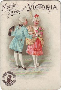 chromo machine a coudre victoria - children in 18th century costume - girl holding bunch of pink roses