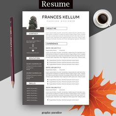 """Focus on your cover letter content instead of stressing about the letter's formatting. Use a professional resume template and make your cover letter look amazing. Professional resume template pack """"Martina"""" includes 1 and resume, cover letter Simple Resume Template, Teacher Resume Template, Resume Template Free, Creative Resume Templates, Templates Free, Basic Resume, One Page Resume, Professional Resume, Resume Words"""