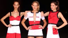 Concept designs for the 2011 Qantas Australian Grand Prix grid girls' outfits, by fashion deisgner Jayson Brudson.
