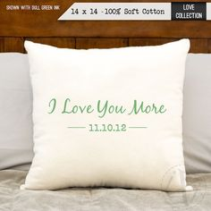 Personalized pillow - I Love You More Personalized Pillows - anniversary gift - cotton gift - 2 year anniversary gift on cotton Personalized Pillows, Handmade Pillows, Custom Pillows, 2nd Anniversary Cotton, Anniversary Gifts, Love You More, My Love, Cotton Gifts, How To Make Pillows