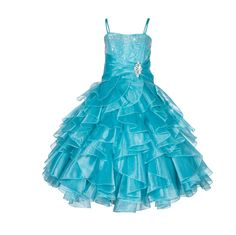 Elegant Rhinestone Organza Pleated Ruffled Beauty Pageant Special Occasions Flower Girl Dress 164s1