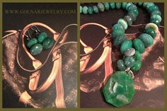 Face-Framing Jewelry.   Collar-Length necklace - Bold Earrings - They belong together.   Flat round stones, faceted cut Emerald Green agates all knotted together with same color silk graduated from large to smaller stones in the back. Magnetic clasps. Price includes a pair of matching earrings.