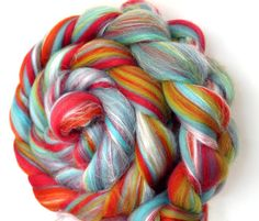 Candy Twist Custom Blend Merino and Silk Combed Top 100g Spinning and Felting £8.00