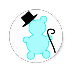 Top Hat Teddy Bear Sticker