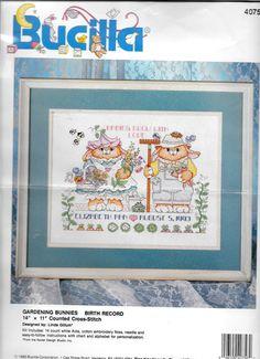 Bucilla Gardening Bunnies Birth Record  Cross Stitch Kit 40756  14 x 11   Unused #Bucilla #GardeningBunnies