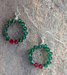 swarovski crystal wire wrapped wreath earrings