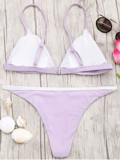 AD : Soft Pad Bikini Top and Tanga Bottoms - PURPLE Brazilian cut minimal cove. - Bra and Bikinis Bikini Set, Thong Bikini, Lingerie Selfie, Plunge Bikini, Bikini Types, Cute Bikinis, Bra Styles, Trendy Fashion, Moda