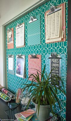 cubicle decor | covered clipboards