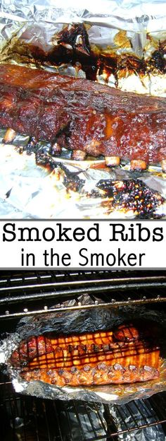 Ribs in the Smoker These delicious smoked ribs take about 6 hours to make from start to finish!These delicious smoked ribs take about 6 hours to make from start to finish! Smoker Grill Recipes, Smoker Cooking, Barbecue Recipes, Grilling Recipes, Traeger Recipes, Cooking Steak, Cooking Turkey, Bbq Ribs, Barbecue Smoker
