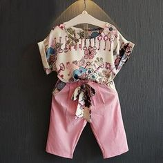Summer Toddler Kids Baby Girls Outfits Clothes Short Sleeve T-shirt Tops + Pants Shorts - Kid Shop Global - Kids & Baby Shop Online - baby & kids clothing, toys for baby & kid Girls Summer Outfits, Toddler Girl Outfits, Short Outfits, Summer Girls, Kids Outfits, Toddler Girls, Baby Girls, Baby Shop Online, Girl Fashion