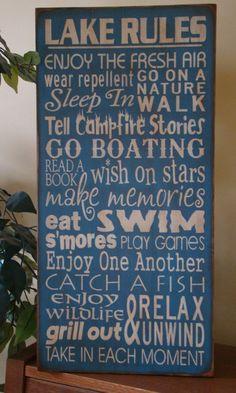 Lake Rules Subway/Typography Word Art Sign. $48.99, via Etsy.