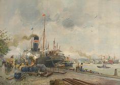 Blik op de Nieuwe Maas vanaf de Boompjes, de kade op de noordoever van de Maas tegen de oudste havenbekkens van Rotterdam aan. In de verte zijn de bogen van de Willemsbrug uit 1878 te zien. Achter het schip op de voorgrond ... Door A.W. van Voorden 1912