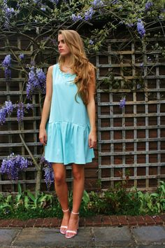 SALE  ANNA blue drop waist dress with by EthelandMo on Etsy