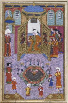Sultan Murad Iii (R. 1574-1595) In His Library (Painting, Recto; Text, Verso) Illustrated Folio From A Manuscript Of The Javahir Al Gharaib Tarjomat Bahr Al-Aja'ib (Gems Of Marvels: A Translation Of The Sea Of Wonders) Of Jennabi(Cennabi)