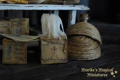 NEW! Magical Ingredients box with dripping candle - scale 1:12