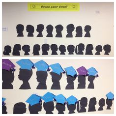 Primary graduation - parents find their child's silhouette