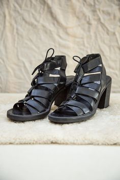 Leather And Lace, Black Leather, Strappy Sandals Heels, Block Heels, Brazil, Shoe Boots, Label, Lace Up, Slip On