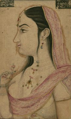Anonymous Mughal artist, Portrait of Lal Kunwar, consort wife of Mughal emperor Jahandar Shah  18th century, ink and pigments on paper mou...