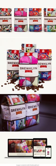 Brewklyn Grind Coffee Roasters. Love the abstract colors and designs on this coffee packaging PD