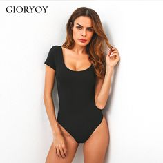 GIORYOY Summer 95% Cotton Solid Backless Sexy Bodysuit Women Jumpsuit thin  romper combinaison short femme a84cc567a