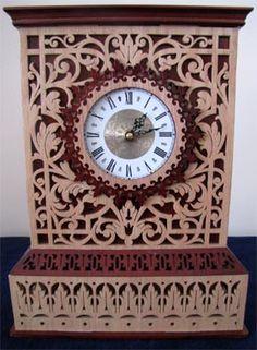 Toulouse clock, scroll saw fretwork pattern