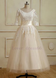 Stock Tea length Lace Sleeves Tulle A-line Wedding dress Bridal Gown SZ 6/8+++18