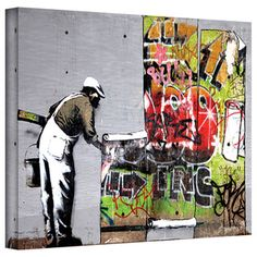 @Overstock.com - Artist: Banksy Title: Grafitti Cover Product type: Gallery-wrapped canvashttp://www.overstock.com/Home-Garden/Art-Wall-Banksy-Grafitti-Cover-Gallery-wrapped-Canvas/7860741/product.html?CID=214117 $49.99