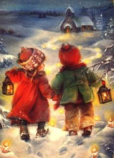 c… – Winterbilder Vintage Christmas Images, Old Fashioned Christmas, Christmas Scenes, Christmas Past, Vintage Holiday, Christmas Pictures, Christmas Greetings, Winter Christmas, Illustration Noel